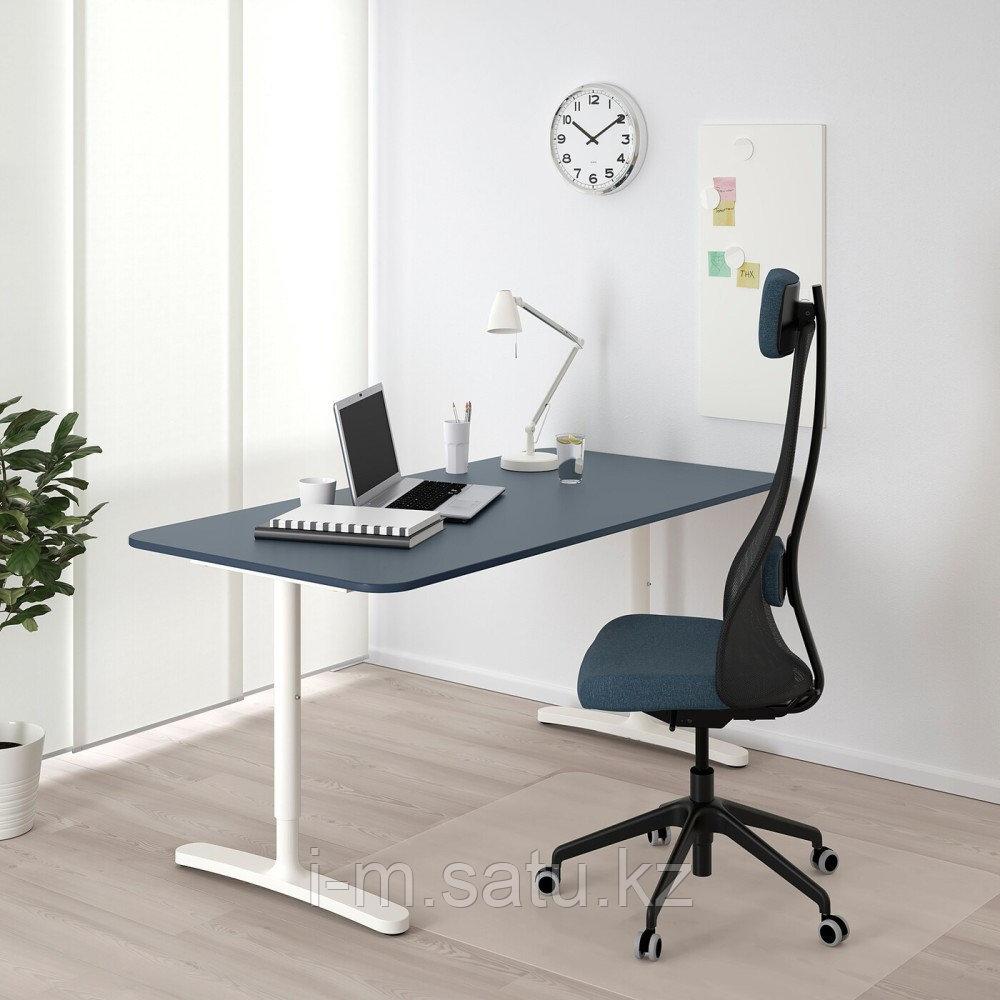 БЕКАНТ Письменный стол, линолеум синий, белый, линолеум синий/белый 160x80 см