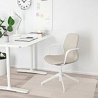 ЛОНГФЬЕЛЛЬ Рабочий стул с подлокотниками, Гуннаред бежевый, белый, Гуннаред бежевый белый, фото 1