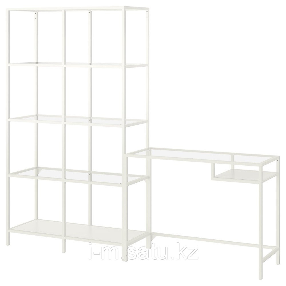 ВИТШЁ Стеллаж+стол д/ноутбука, белый, стекло, белый/стекло 200x36x175 см