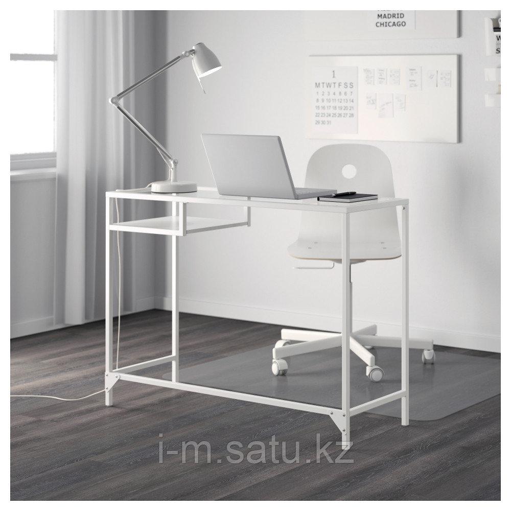 ВИТШЁ Стол д/ноутбука, белый, стекло, белый/стекло 100x36 см