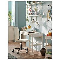 ХЕМНЭС Стол с 2 ящиками, белая морилка, белая морилка 120x47 см, фото 1