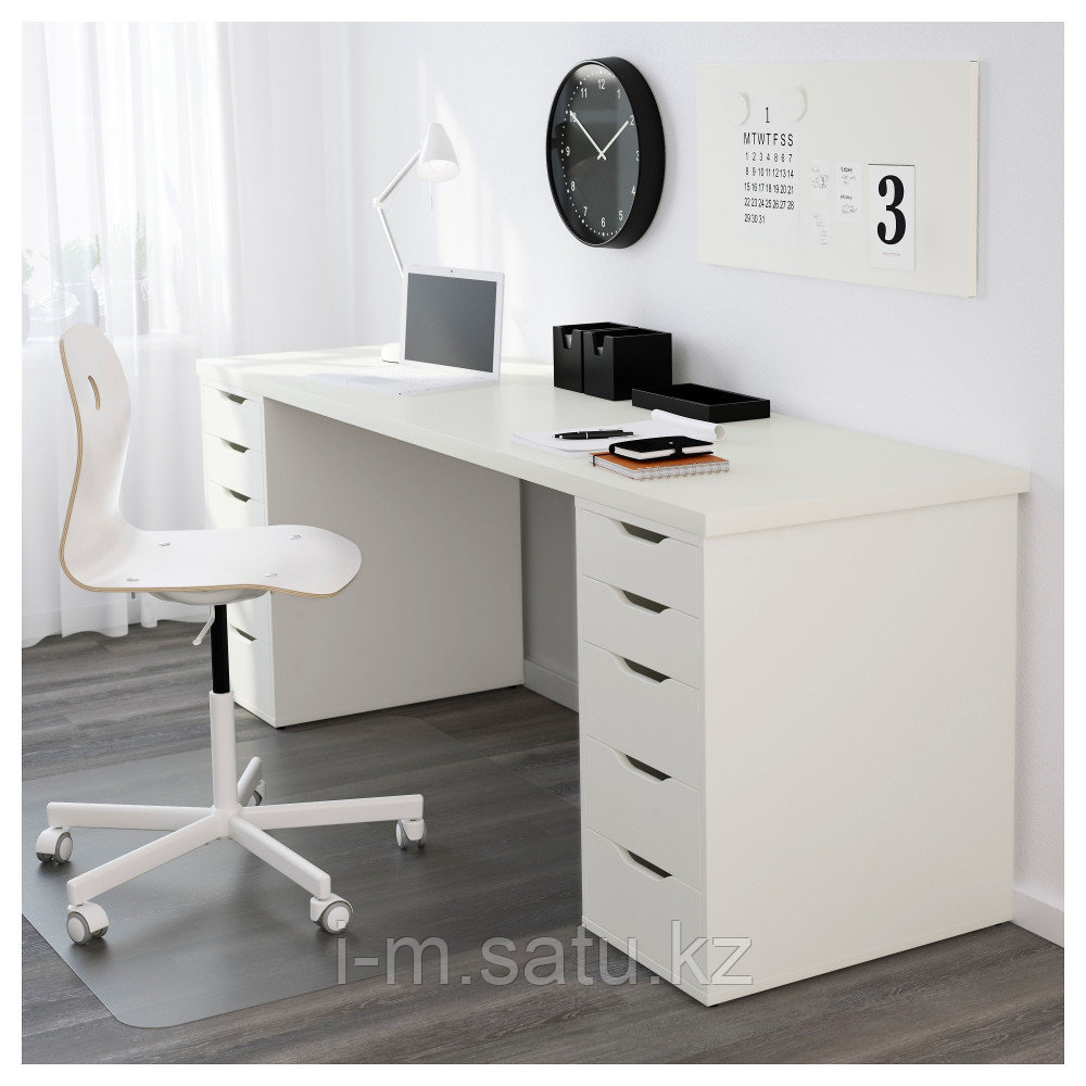 ЛИННМОН / АЛЕКС Стол, белый, белый 200x60 см