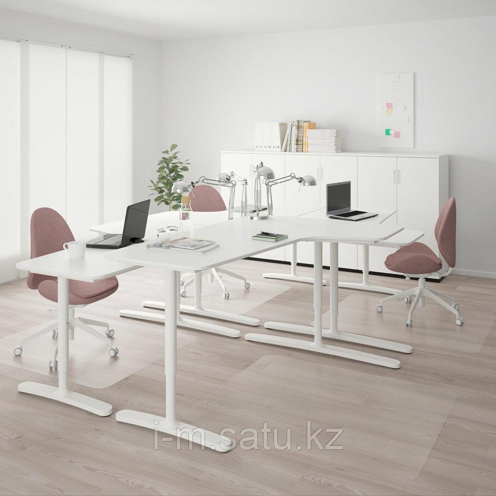 БЕКАНТ Стол, комбинация, белый, белый 320x220 см