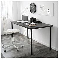 ЛИННМОН / АДИЛЬС Стол, черно-коричневый, черный, черно-коричневый/черный 150x75 см