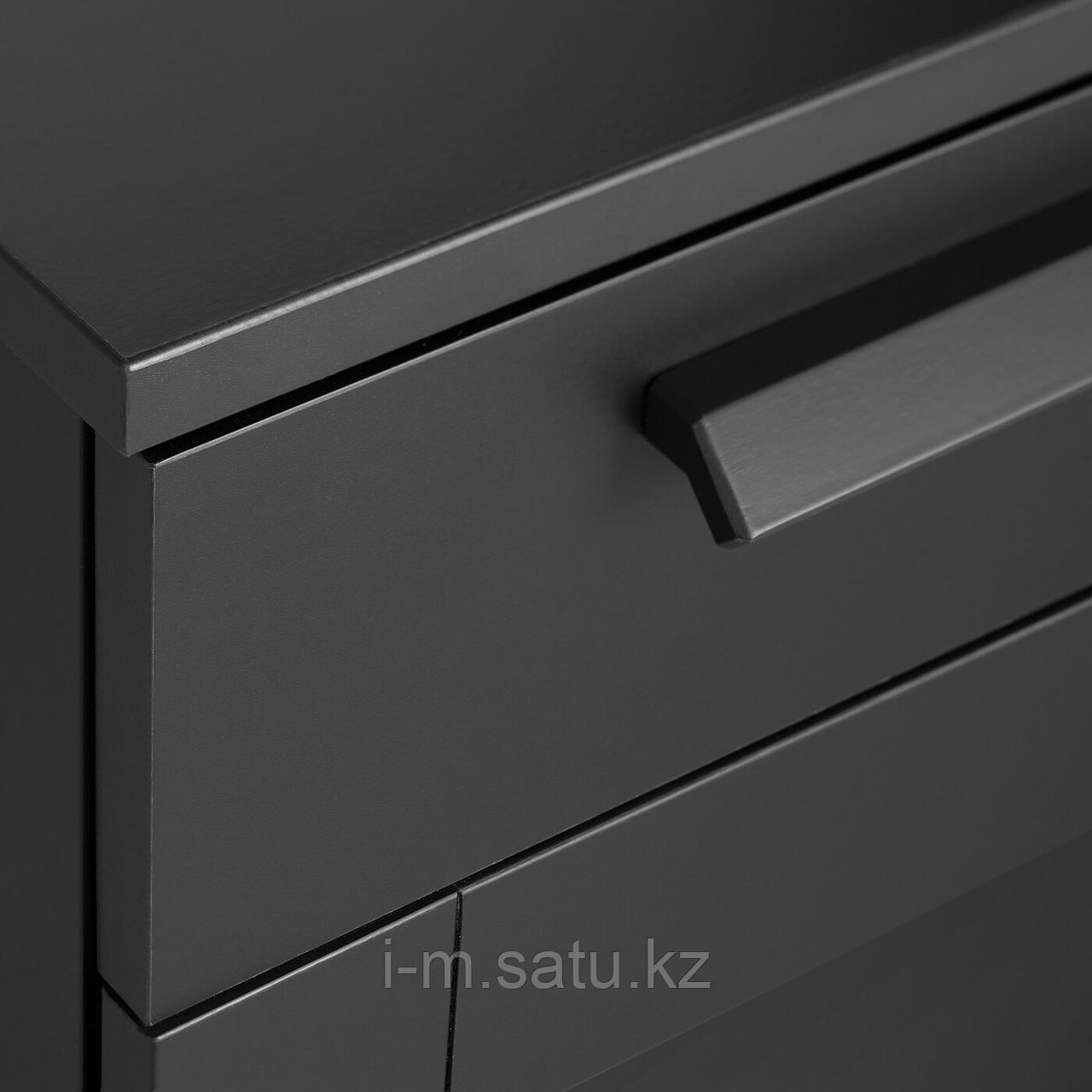 Тумба с ящиками на колесах, черный, 35x68 см