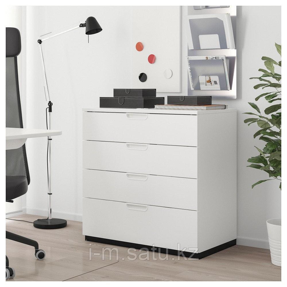 ГАЛАНТ Тумба с ящиками, белый, белый 80x80 см