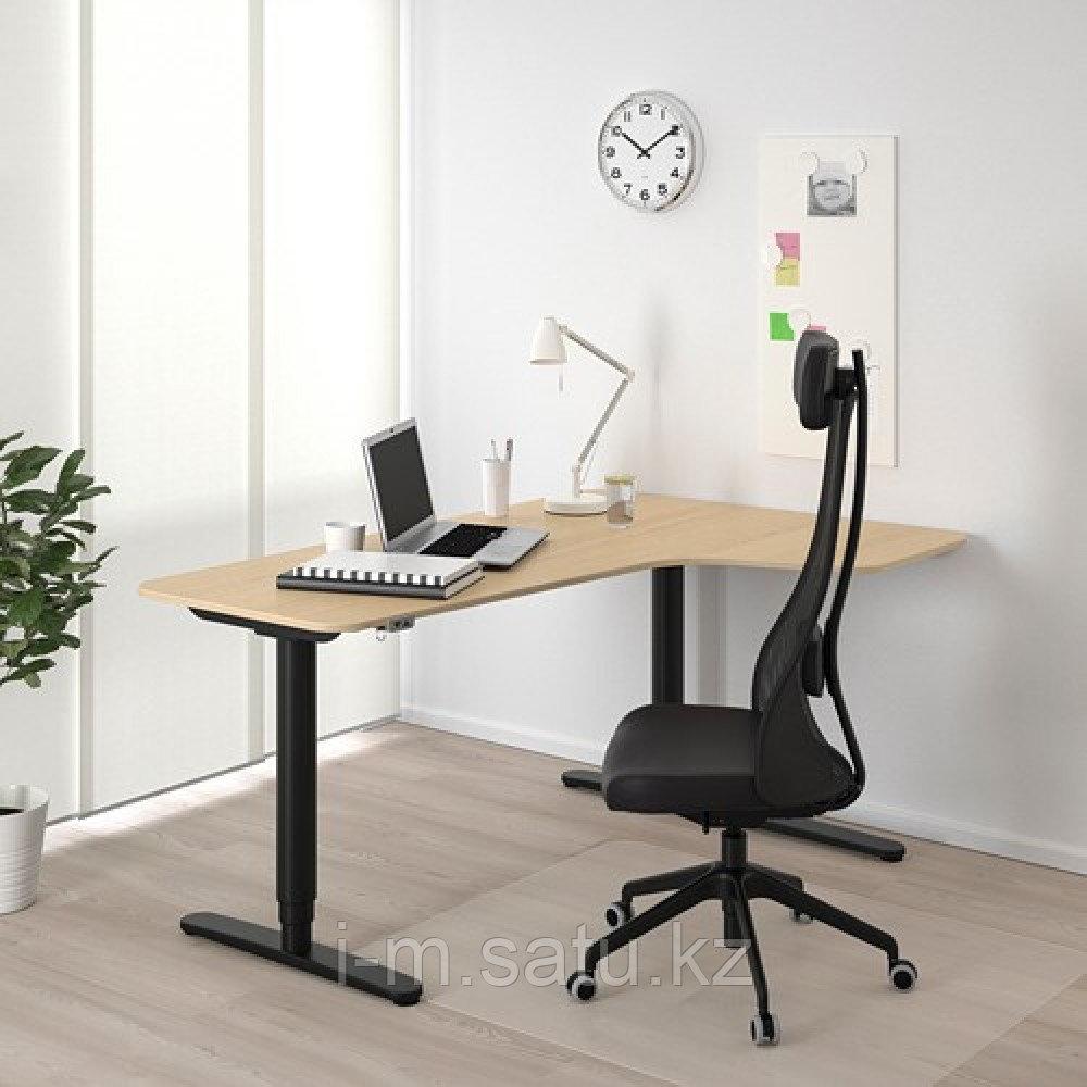 БЕКАНТ Углов письм стол прав/трансф, дубовый шпон, беленый черный, дубовый шпон, беленый черный 160x110 см