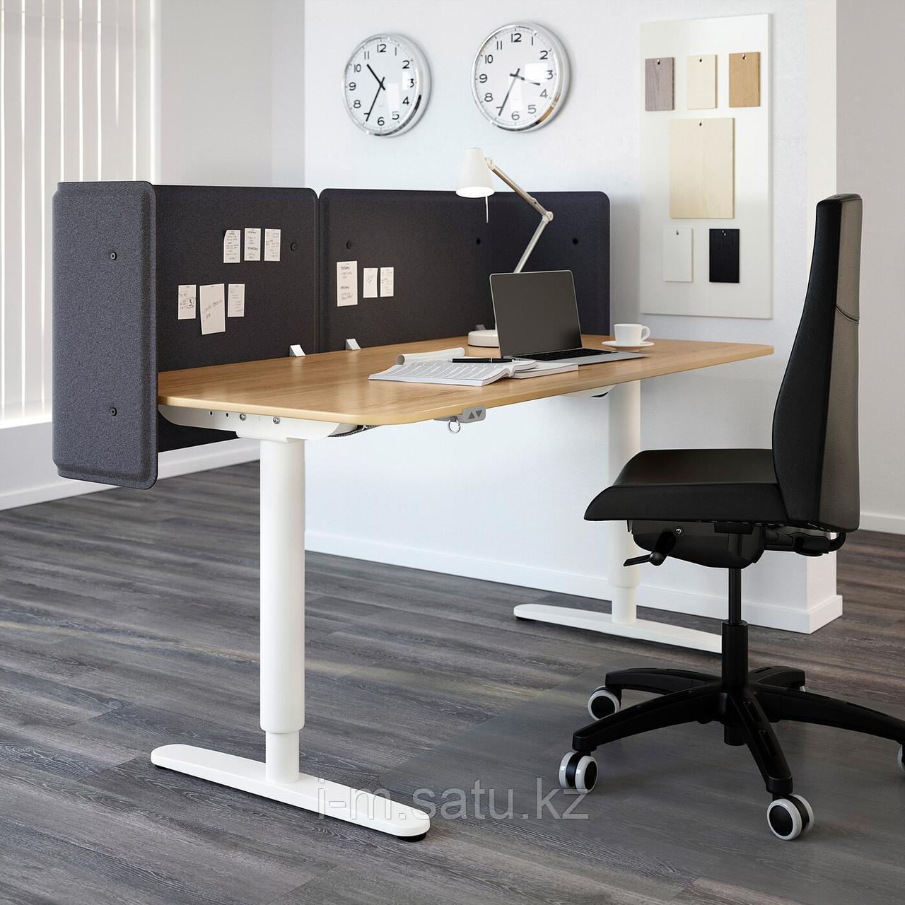 БЕКАНТ Экран д/письменного стола, серый, серый 55 см
