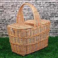 Корзина «Пикник», с крышкой, №1, дно:16х31 см, верх:40х28 см, H=25/45 см, ива