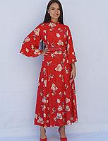 Платье летнее красное с цветочным принтом 46