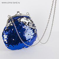 Сумка женская, отдел на фермуаре, длинная цепь, цвет синий/серебристый