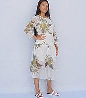 Платье летнее белое с рисунком папоротника