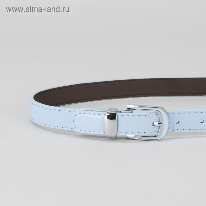Ремень, гладкий, пряжка и хомут металл, ширина - 2,2 см, цвет голубой - фото 2