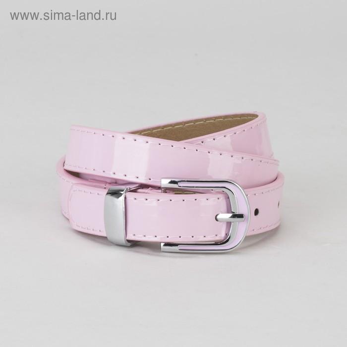 Ремень, гладкий, пряжка и хомут металл, ширина - 2,2 см, цвет розовый - фото 1