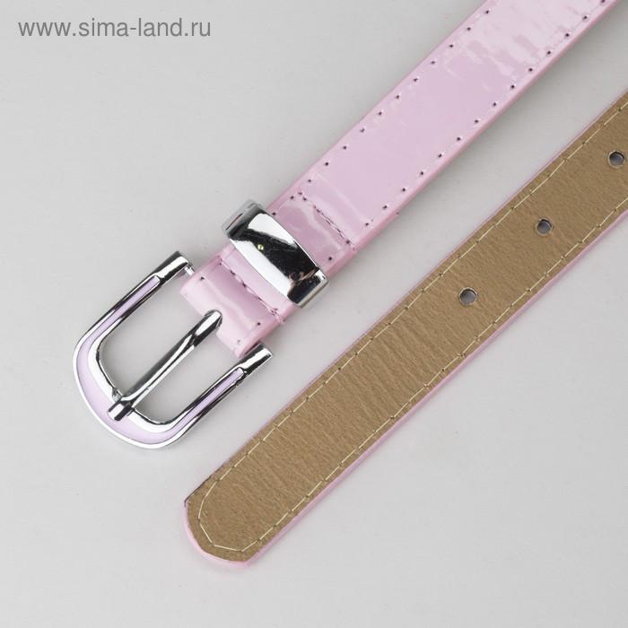 Ремень, гладкий, пряжка и хомут металл, ширина - 2,2 см, цвет розовый - фото 3