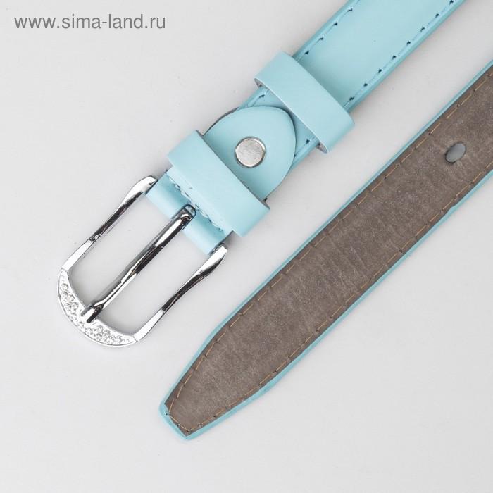 Ремень, гладкий, пряжка металл, ширина - 2,2 см, цвет мятный - фото 3