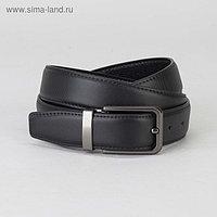 Ремень мужской, 2 строчки, пряжка тёмный металл, ширина - 3 см, цвет чёрный