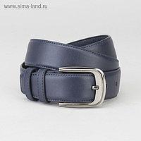 Ремень мужской, гладкий, пряжка тёмный металл, ширина - 3,7 см, цвет синий