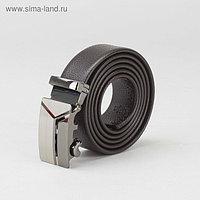Ремень мужской, гладкий, пряжка - автомат тёмный металл, ширина - 3 см, цвет кофе