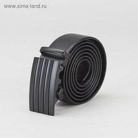 Ремень мужской, гладкий, пряжка - автомат тёмный металл, ширина - 3,8 см, цвет чёрный