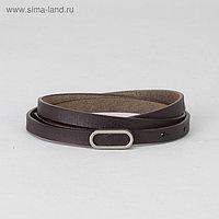 Ремень женский, гладкий, пряжка матовый металл, ширина - 1 см, цвет коричневый