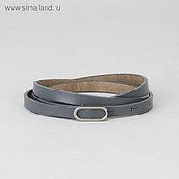 Ремень женский, гладкий, пряжка матовый металл, ширина - 1 см, цвет серый
