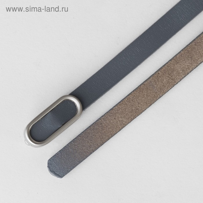 Ремень женский, гладкий, пряжка матовый металл, ширина - 1 см, цвет серый - фото 3