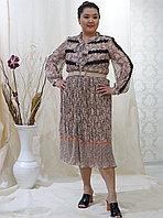 Платье Шифоновое Бежевое с длинным рукавом 44