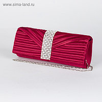 Клатч женский, отдел на магните, длинная цепь, цвет бордовый