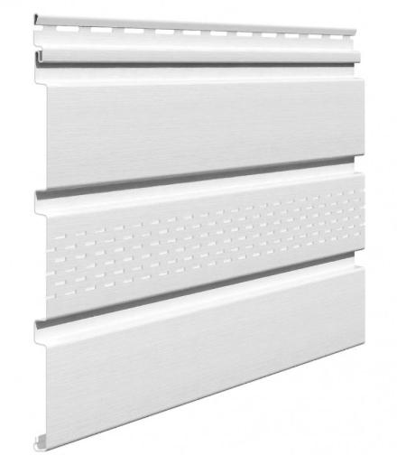 Софит виниловый 0,3x3,0 м (0,9 м2) Белый с центральной перфорацией SV-07 UNICOLOR