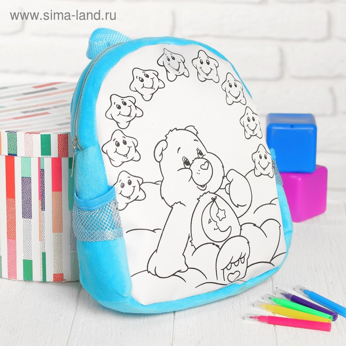 Рюкзак с рисунком под роспись «Мишка» + фломастеры 5 цветов, цвета МИКС - фото 5