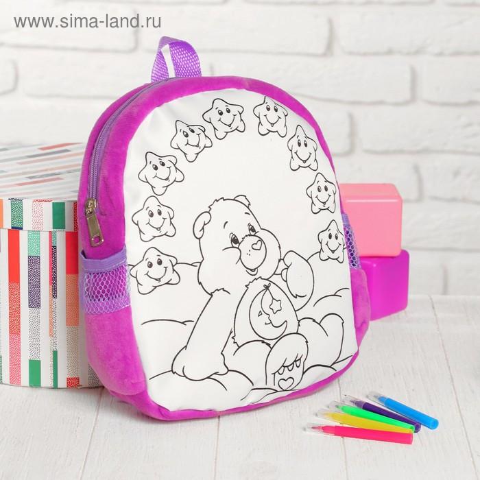 Рюкзак с рисунком под роспись «Мишка» + фломастеры 5 цветов, цвета МИКС - фото 6