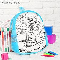 Рюкзак с рисунком под роспись «Девочка» + фломастеры 5 цветов, цвета МИКС