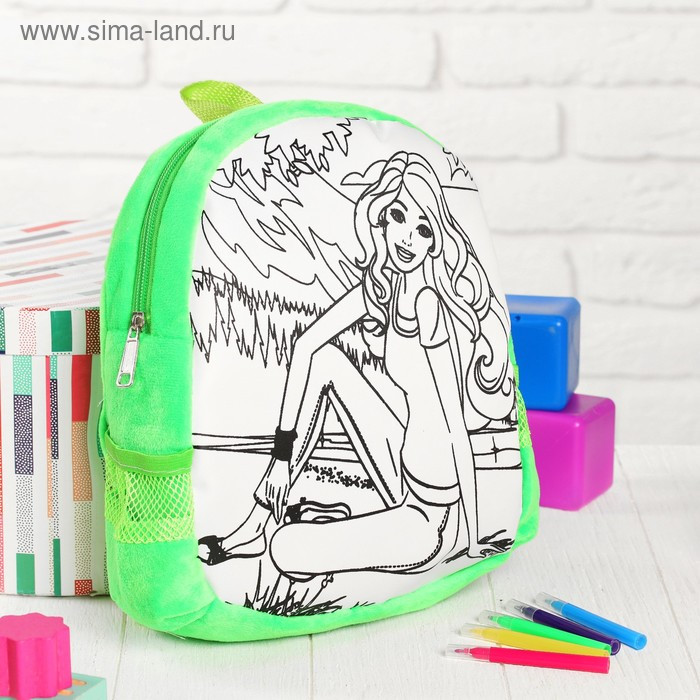 Рюкзак с рисунком под роспись «Девочка» + фломастеры 5 цветов, цвета МИКС - фото 5