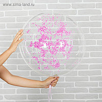 """Шар воздушный 18"""" «Праздник», прозрачный + розовый пенопласт, лента, гирлянда, насос"""