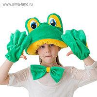 """Карнавальный костюм """"Лягушка-квакушка"""", меховая шапка, бабочка, перчатки, рост 122-134 см"""