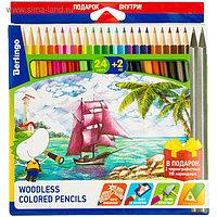 Карандаши цветные 24 цвета Berlingo «Корабли» + два чернографитных карандаша
