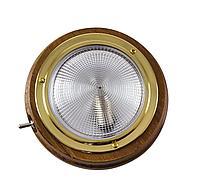 Светильник каютный, одна лампа, 12 В, 18 Вт, D101 мм, тик 10710
