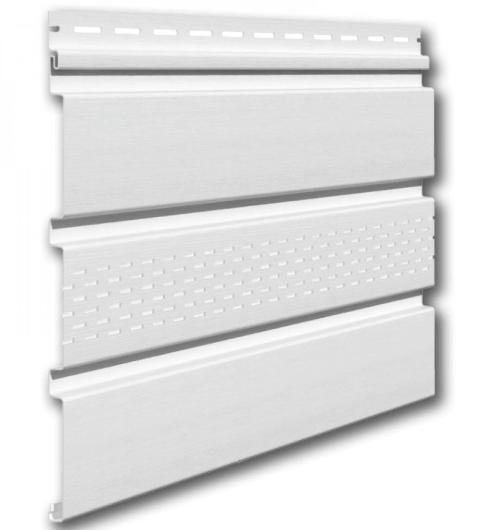 Софит виниловый 0,3x3,0 м (0,9 м2) Белый с центральной перфорацией VSV-07 Эконом Vilo