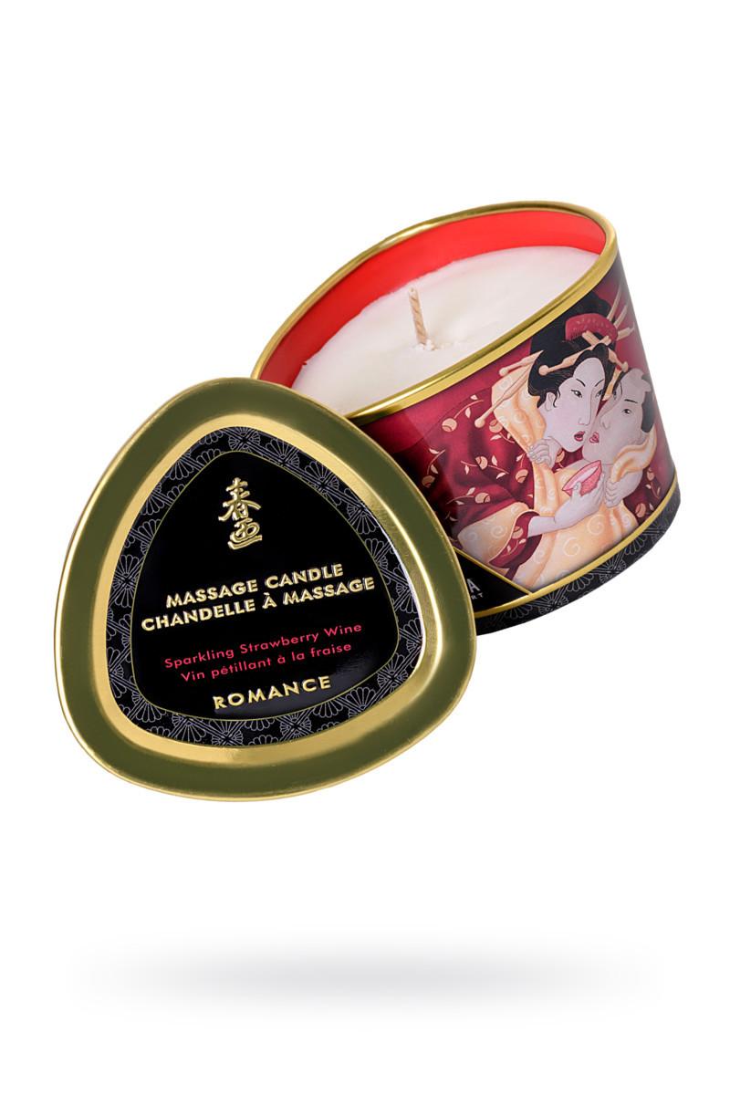 Массажное аромамасло-свеча Shunga, с ароматом клубники и шампанского, 170 мл