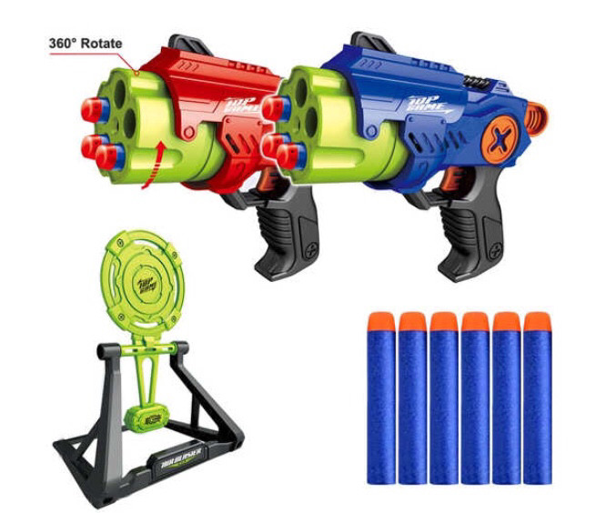Бластер Manual Air Blaster Toys Gun With Practice Target Plate Shoot Game EVA Soft Bullet Gun