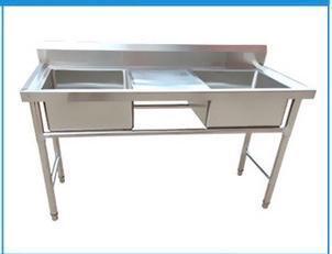 Ванна моечная, 2-Секционная со столом 175х60х80хГ20см