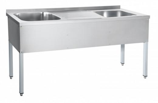 Ванна моечная, 2-Секционная со столом 175х60х80хГ40см
