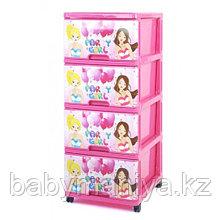 Комод пластиковый Dunya с рисунком PARTY GIRL Розовый