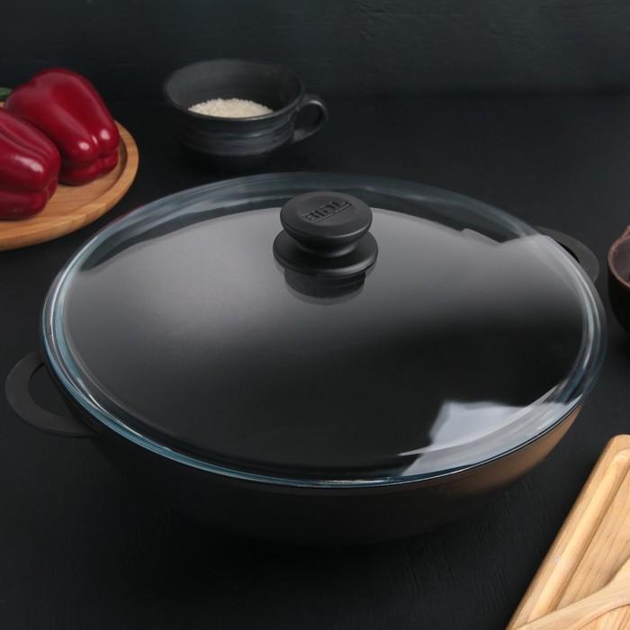 Сковорода-Wok 32 см, 4 л, стеклянная крышка, алюминиевые ручки