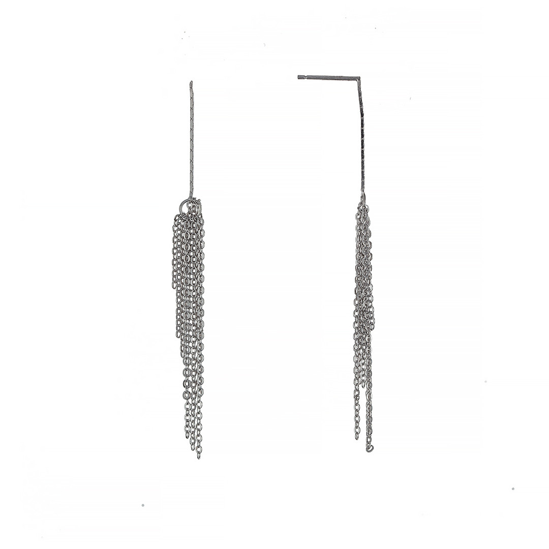 Серебряные длинные серьги с цепями пусеты (гвоздики). Покрытие родий, вес: 2 гр