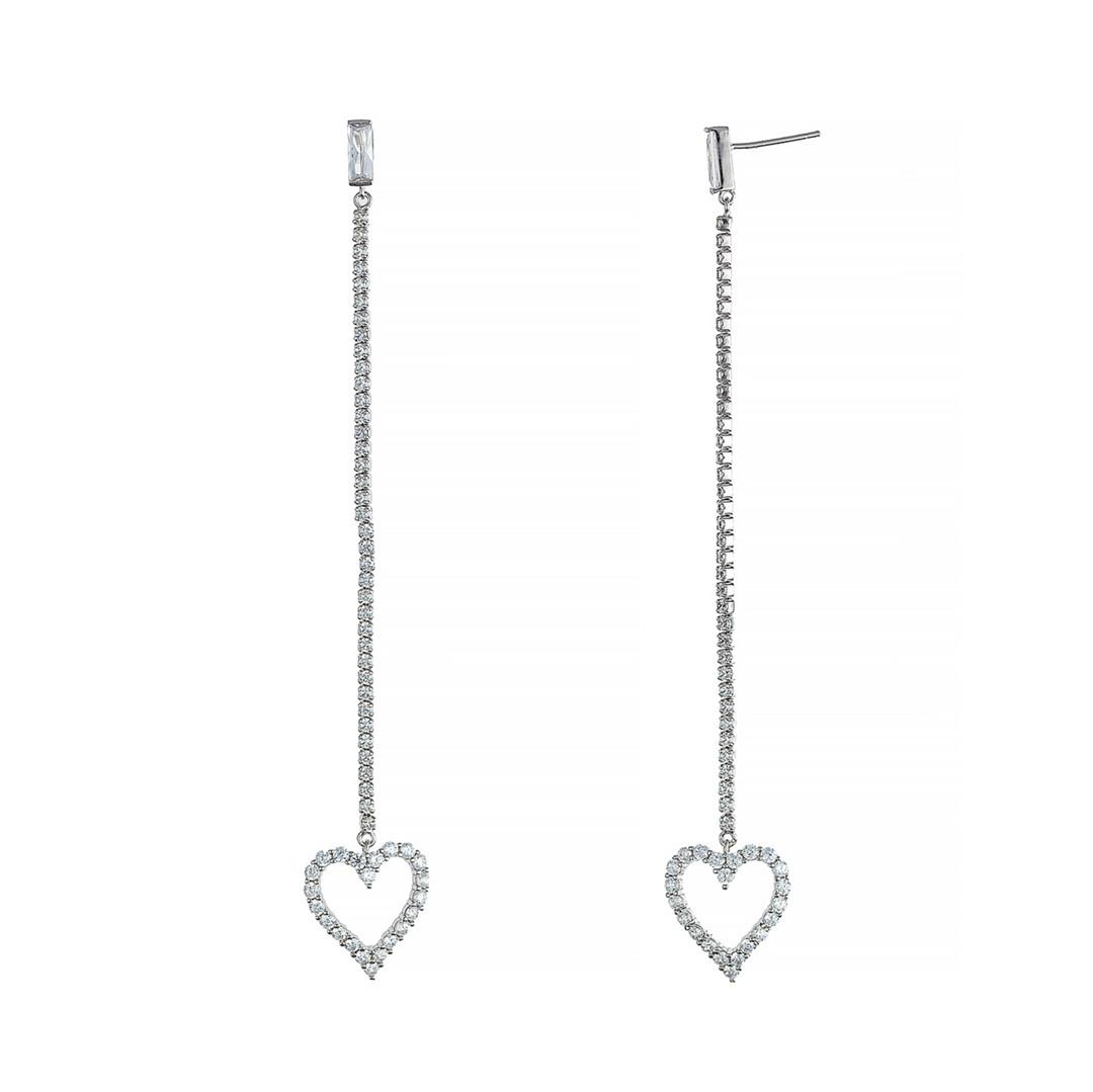 """Серебряные длинные серьги """"Сердце"""" гвоздики-пусеты. Вставка: белые фианиты, вес: 6,2 гр, длин"""