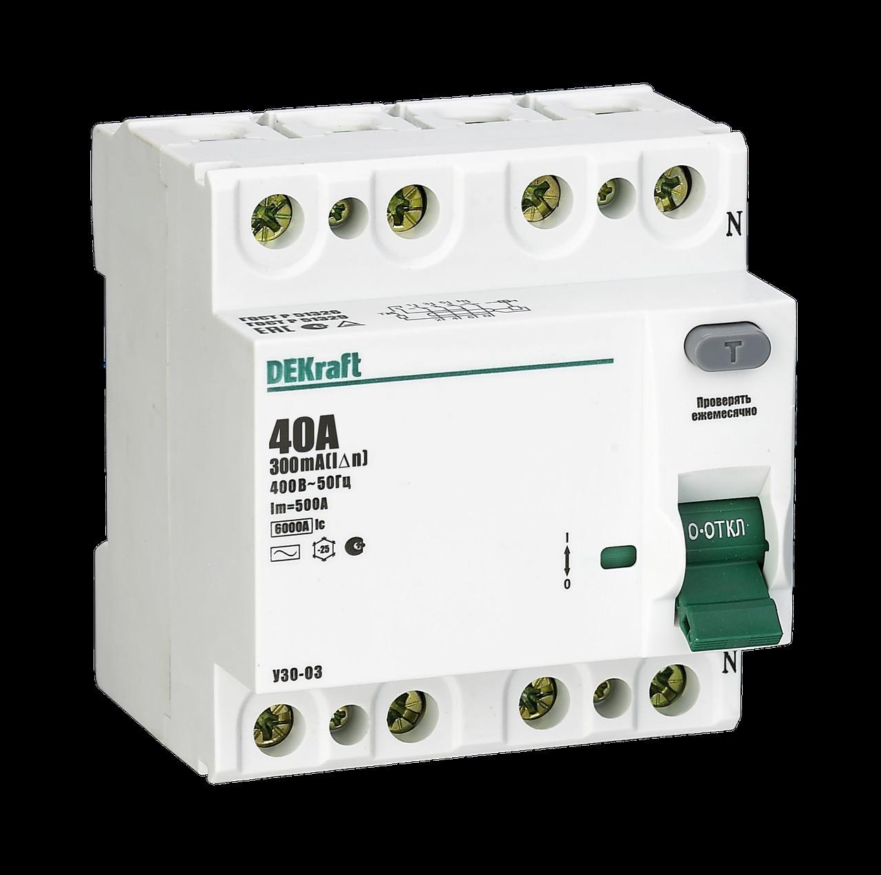 Выключатель диф.тока УЗО 03-4Р-040А-100 /14087DEK/