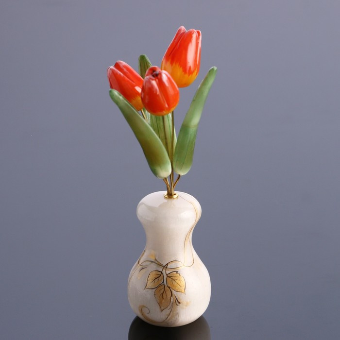 Ваза Тюльпан (3 цв.) малая селенит 17,5*8см