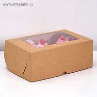 Коробка на 6 капкейков с окном, крафт, 25 х 17 х 10 см